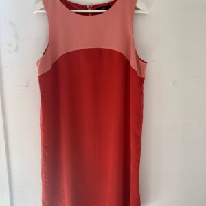 vintage dress ; red/pink over knee, marks & spencer
